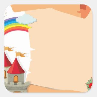Paper design with dragon and castle square sticker