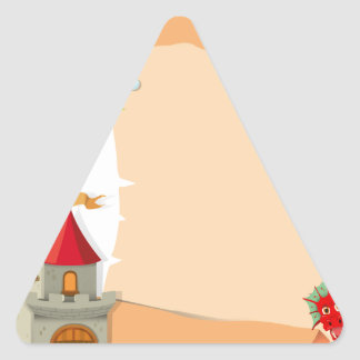 Paper design with dragon and castle triangle sticker