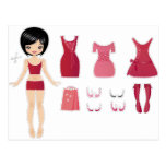 Paper doll cut post cards