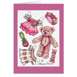 Paper Doll Teddy Blank Note Card