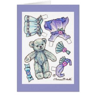 Paper Doll Teddy Blank Note Card
