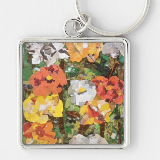 Paper Flowers Collage in Yellow & Orange Silver-Colored Square Key Ring