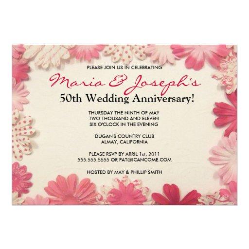 Paper Flowers Wedding Anniversary Invitation 13 Cm X 18 Cm Invitation