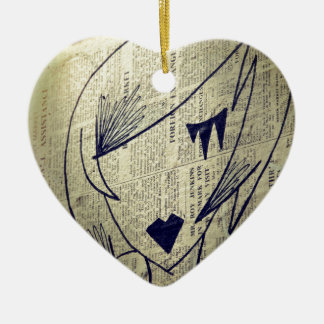 paper girl ceramic heart decoration