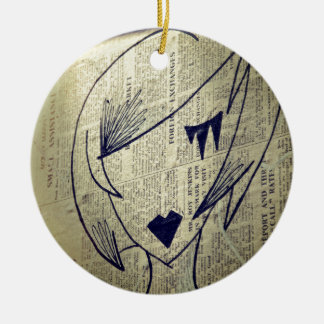 paper girl christmas ornament