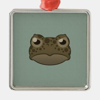 Paper Green Toad Silver-Colored Square Decoration