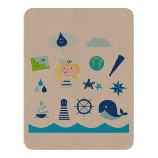 Paper greeting with Mare icons Card