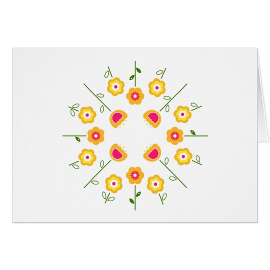 Paper greeting with Yellow folk flowers Card
