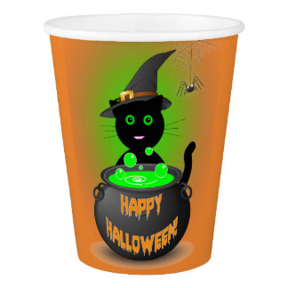 Paper Halloween Party Cups with Cute Black Cat