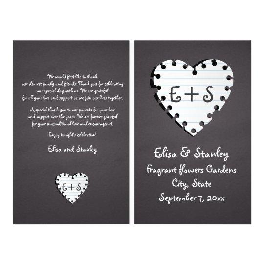 Paper heart on chalkboard folded wedding program