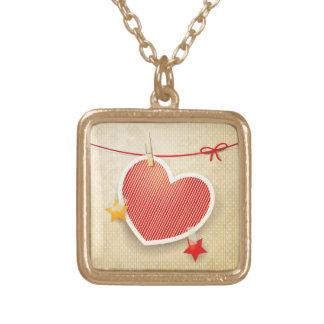 Paper heart square pendant necklace