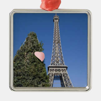 paper heart tied to a tree with the Eiffel tower Christmas Ornament