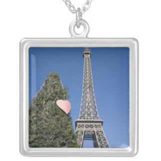 paper heart tied to a tree with the Eiffel tower Silver Plated Necklace