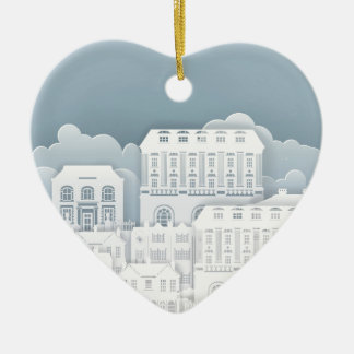 Paper Houses Row Ceramic Heart Decoration