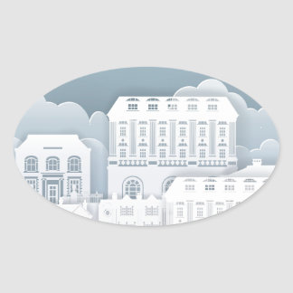 Paper Houses Row Oval Sticker