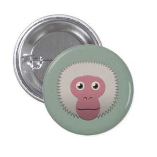 Paper Japanese Macaque 3 Cm Round Badge
