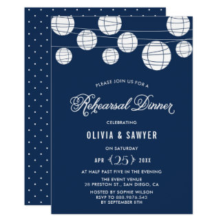 Paper Lanterns | Blue Rehearsal Dinner Invitation