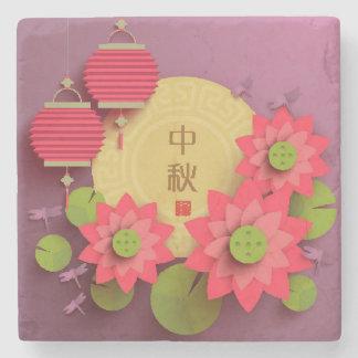 Paper Lotus. Main: Mid Autumn Festival Stone Beverage Coaster