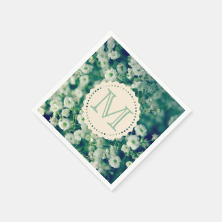 Paper Napkin with white flowers and monogram