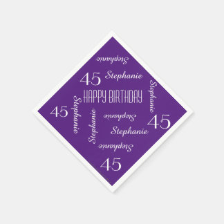 Paper Napkins, 45th Birthday Party Repeating Names Paper Serviettes