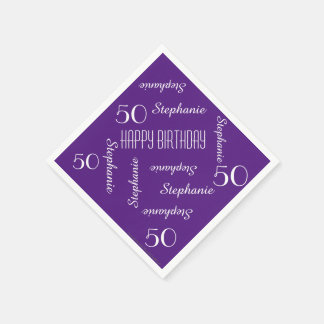 Paper Napkins, 50th Birthday Party Repeating Names Disposable Serviettes
