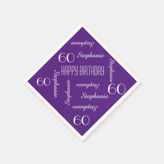Paper Napkins, 60th Birthday Party Repeating Names Disposable Serviettes