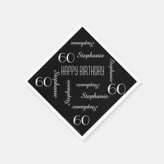 Paper Napkins, 60th Birthday Party Repeating Names Napkin