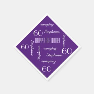 Paper Napkins, 60th Birthday Party Repeating Names Paper Napkin