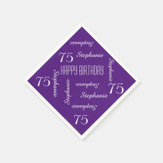 Paper Napkins, 75th Birthday Party Repeating Names Disposable Serviette