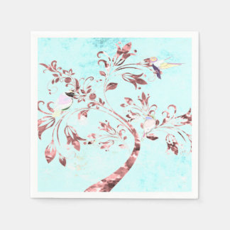 paper napkins aqua pink abstract birds