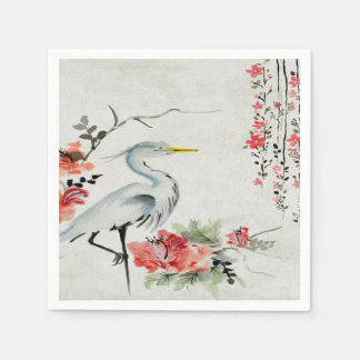 paper napkins Asian crane flower