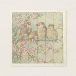 paper napkins  pastel song birds