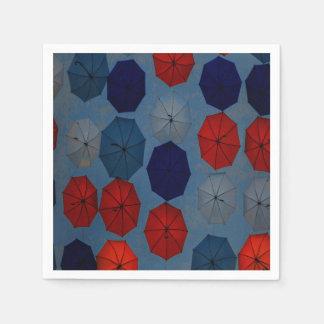 paper napkins  red blue umbrellas