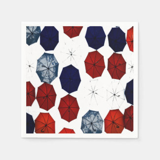 paper napkins  red blue  white umbrellas