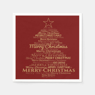 paper napkins red gold Christmas