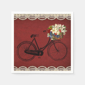 paper napkins red ivory lace look bike bicycle