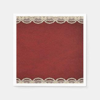 paper napkins Red Merlot ivory scroll