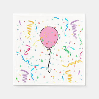 Paper Napkins with balloons and confetti Paper Napkin