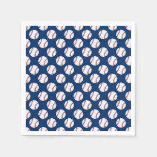 Paper Napkins with baseballs on a blue background