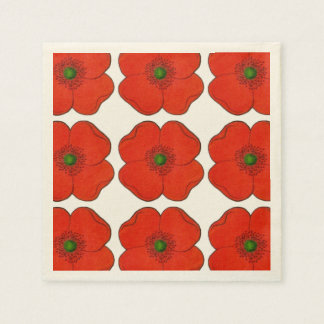 Paper Napkins with red flower design