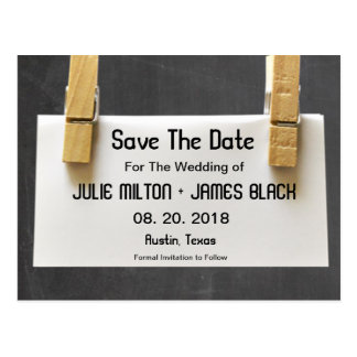 Paper Note Wooden Pegs Chalkboard Photo Save Date Postcards