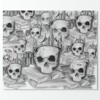 Paper of Parcel, Roll 76cm x 180 cm skull Wrapping Paper
