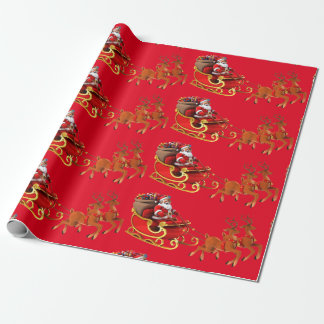 """Paper of present """"Papa Noel and its sleigh """" Wrapping Paper"""