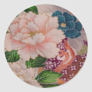Paper Peonies from Japan Round Sticker