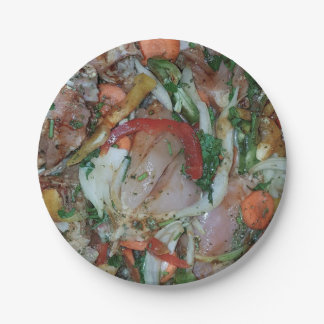 Paper placard (s) chicken and vegetable mix paper plate