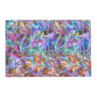 Paper Placemat Floral Abstract Stained Glass Laminated Placemat