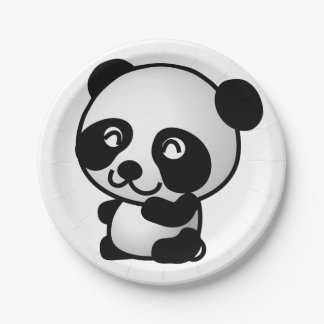 Paper Plane. Panda. 7 Inch Paper Plate