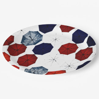 Paper plate abstract red blue  white umbrellas 9 inch paper plate