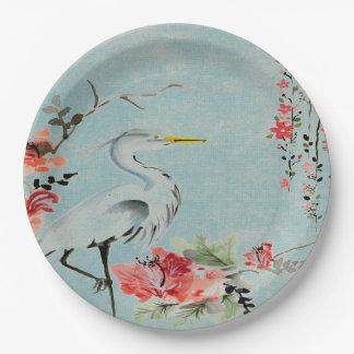 Paper plate   Asian crane flower aqua 9 Inch Paper Plate