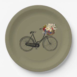Paper plate   bicycle bike taupe 9 inch paper plate